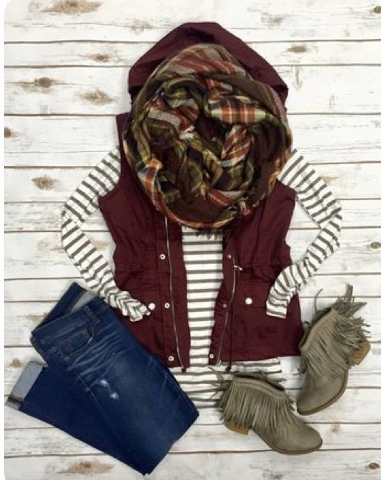 Stitch Fix Fashion 2017 2018! Ask your stylist for something like this in your next fix, delivered right to your door! #sponsored #StitchFix  Stripes, burgundy vest, fringe booties
