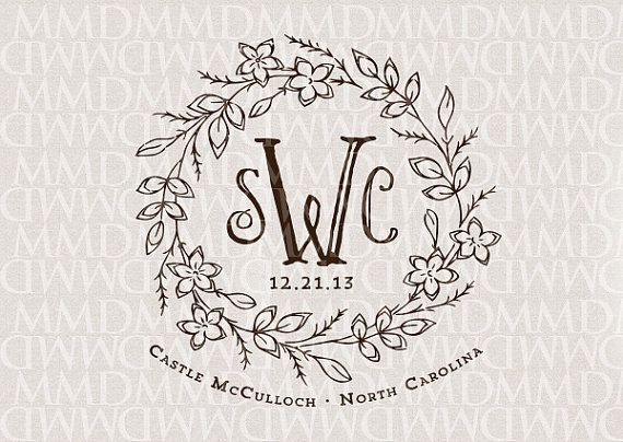 storybook fairy tale floral wreath wedding monogram wedding logo wedding crest fairy tale wedding