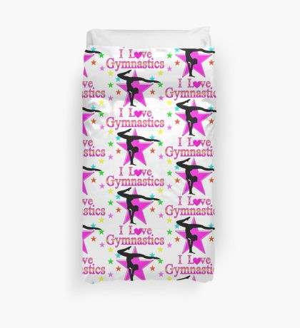 PRETTY PINK STAR GYMNASTICS DESIGN Duvet Cover Show your love for Gymnastics with our awesome Duvet covers to add inspiration to this Gymnast's room. http://www.redbubble.com/people/jlporiginals/collections/360221-gymnastics  #Gymnastics #Gymnast #WomensGymnastics #Gymnastgift