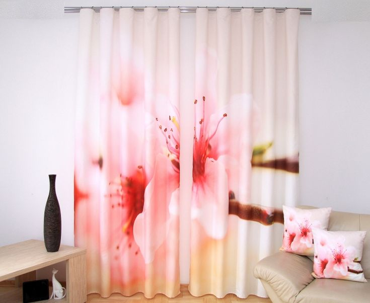 Béžový 3D záves na okná vzor ružový kvet