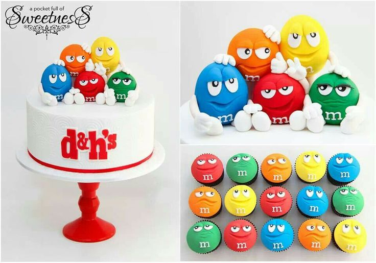 M & M's cake and cupcakes