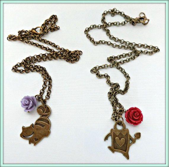 Alice in Wonderland necklace, Cheshire cat necklace, Alice in Wonderland Heart card soldiers necklace, Alice in Wonderland jewelry