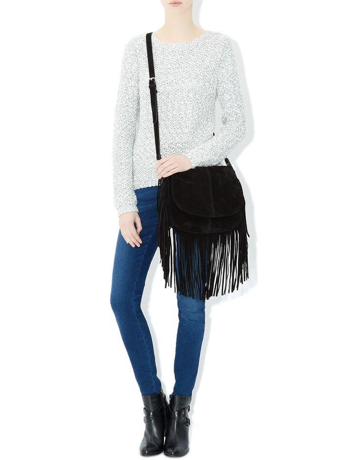 Leather Fringe Saddle Bag | Black | Accessorize