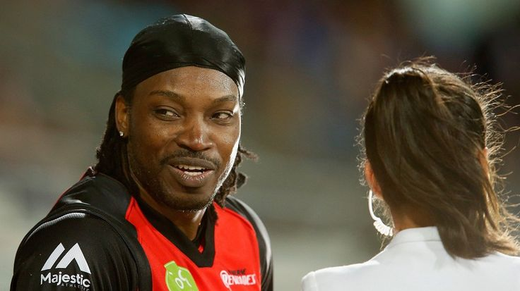 Chris Gayle gives a boundary line interview to Mel McLaughlin, Hobart Hurricans v Melbourne Renegades, BBL 2015-16, Hobart, January 4, 2016