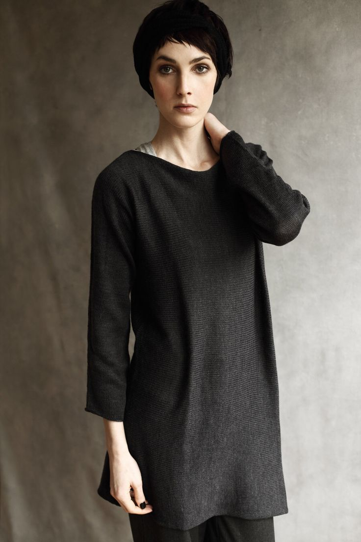 Long Sleeved Merino Wool Charcoal Grey Slash-Neck Tunic, Dress, Mid-Thigh Length by suzybonomini on Etsy https://www.etsy.com/listing/226667882/long-sleeved-merino-wool-charcoal-grey