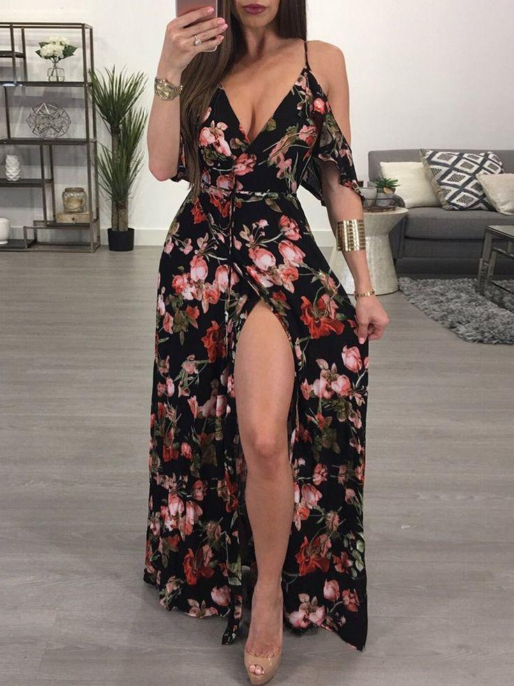 Ruffled Floral Print High Slit Cold Shoulder Maxi Slip Dress