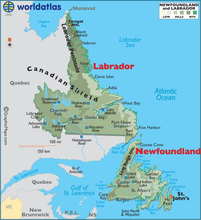 Newfoundland and Labrador Canada large color map.  Almost gotten eaten alive by black flies in Labrador. LOL