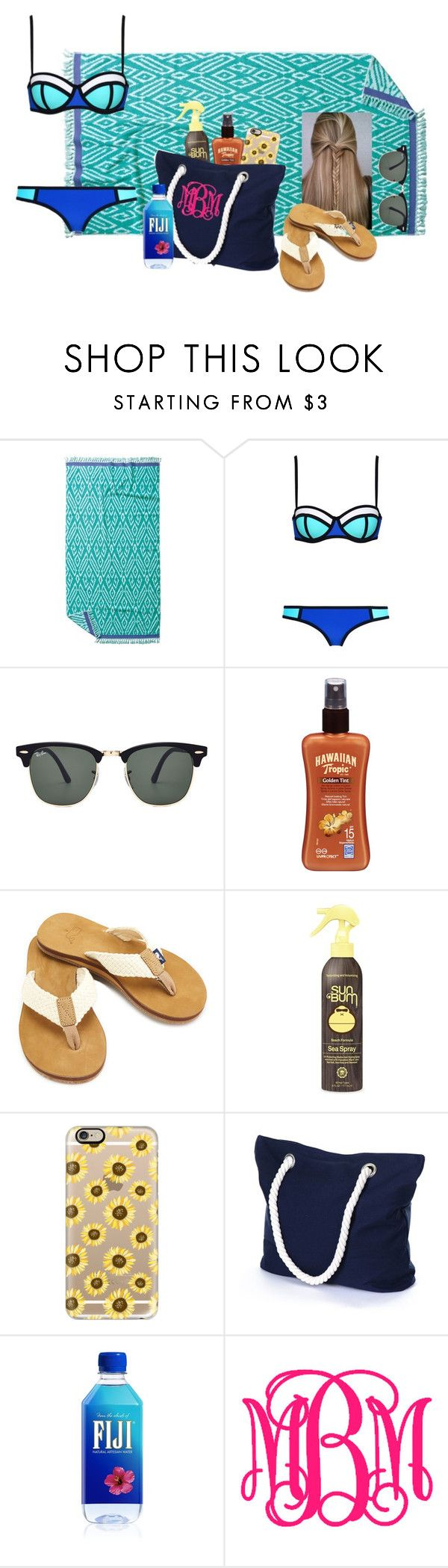 """""""Pool day/ beach day"""" by madelyn-abigail ❤ liked on Polyvore featuring John Robshaw, Ray-Ban, Hawaiian Tropic, Sun Bum, Casetify, women's clothing, women's fashion, women, female and woman"""