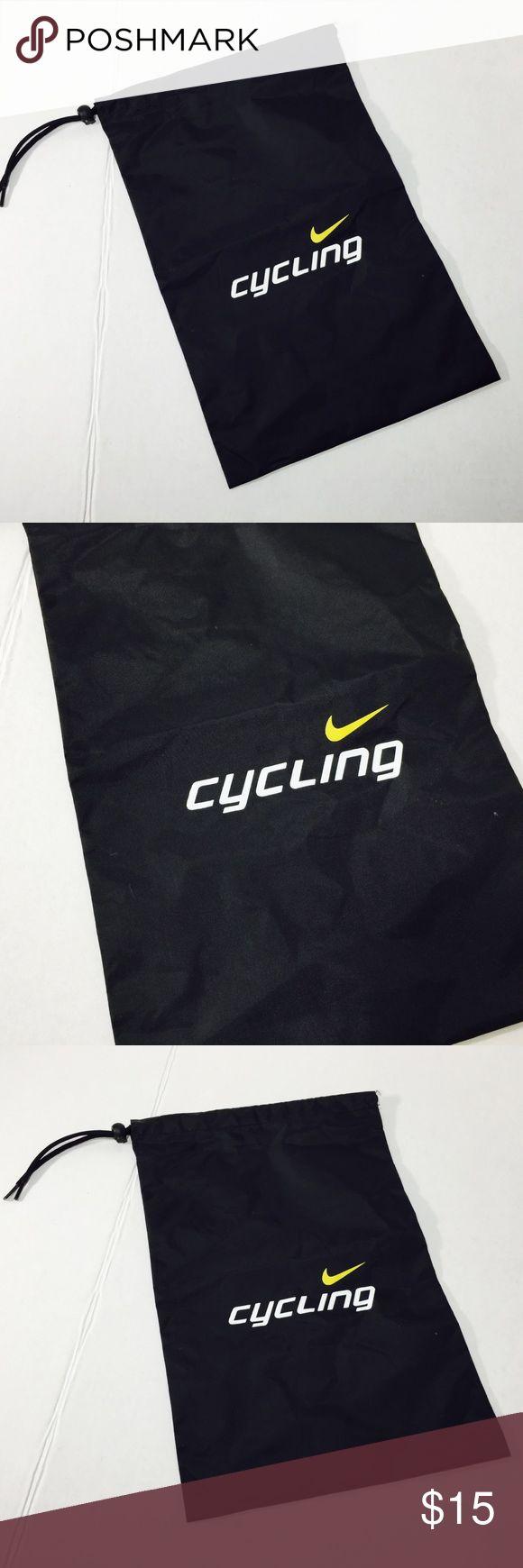 Nike Cycling Nylon draw string bag Black Small Nike Cycling Nylon draw string bag Black white lettering yellow swosh 15x10 gently used - SKU B46 Nike Bags