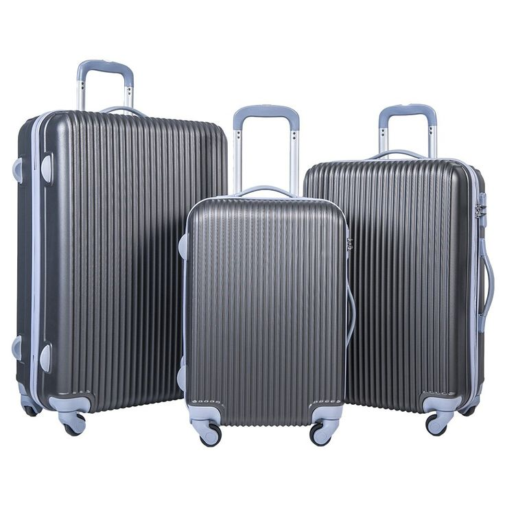Merax Newest 3 Piece Luggage Suitcase Spinner Set ABS Material (Grey)