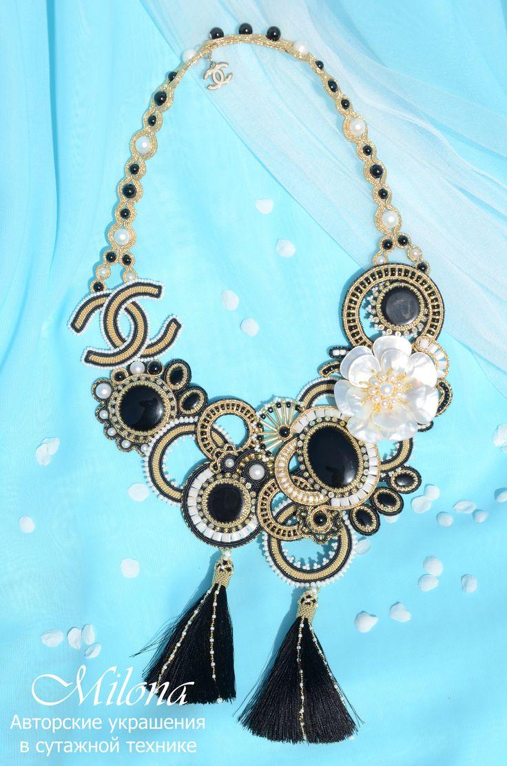 Soutache necklace «For Coco» by MilonaSoutache on Etsy