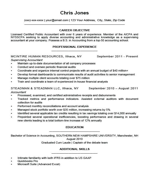 objective for a resume examples