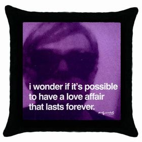 Andy Warhol - Photo Quote (Purple) : Pillow Case, Pillowcase, Cushion Cover