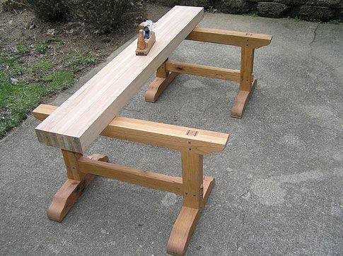 Japanese Woodworking Planing Beam With Saw Horse Workbench This