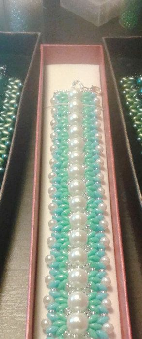 Turquoisepearlsilver  hand made cuff by mybusylittlebeader on Etsy