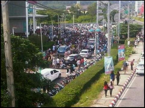 People are in front of Central Phuket supercenter.