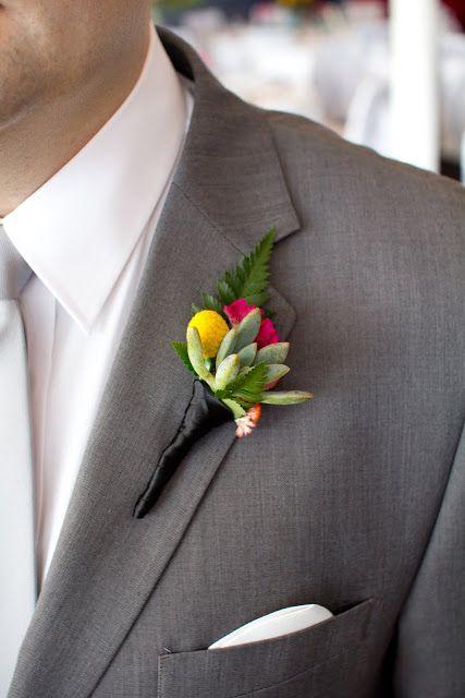 {Naomi Rose Floral Design} Buttonhole| Groom| Hot pink flower | Orange | Yellow…