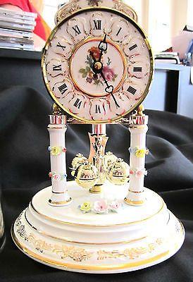 Reine Handarbeit Anniversary Clock Mantle Dresden Porcelain Floral Vintage Clock