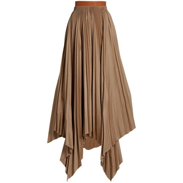 Loewe Asymmetric pleated-cotton skirt ($956) ❤ liked on Polyvore featuring skirts, long pleated skirt, brown maxi skirt, cotton maxi skirt, asymmetrical skirt and floor length skirt