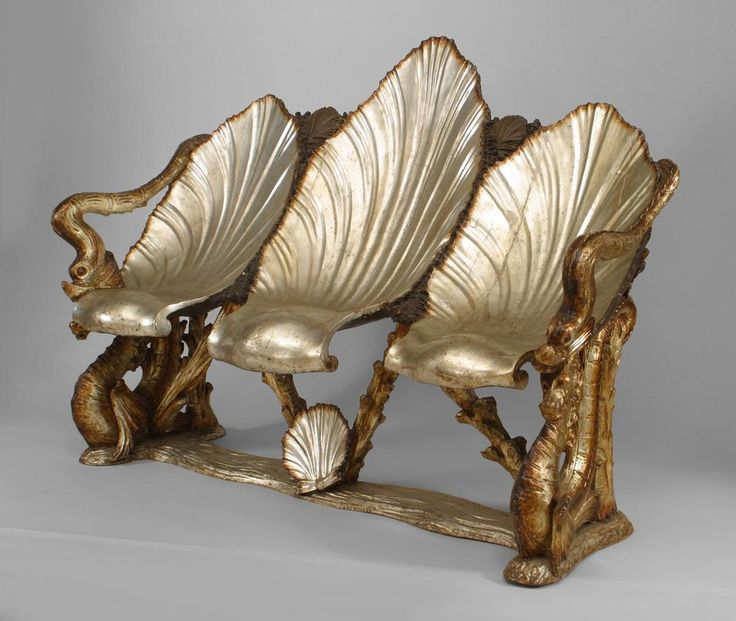 Italian Venetian Grotto (19th cent.) silver gilt settee with triple seashell seat and dolphin & seahorse motif (att: Pauly et Cie, Venice)