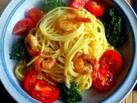 Schnippelboy-Spaghetti,Bärlauchpesto,Garnelen,Pflücksalat