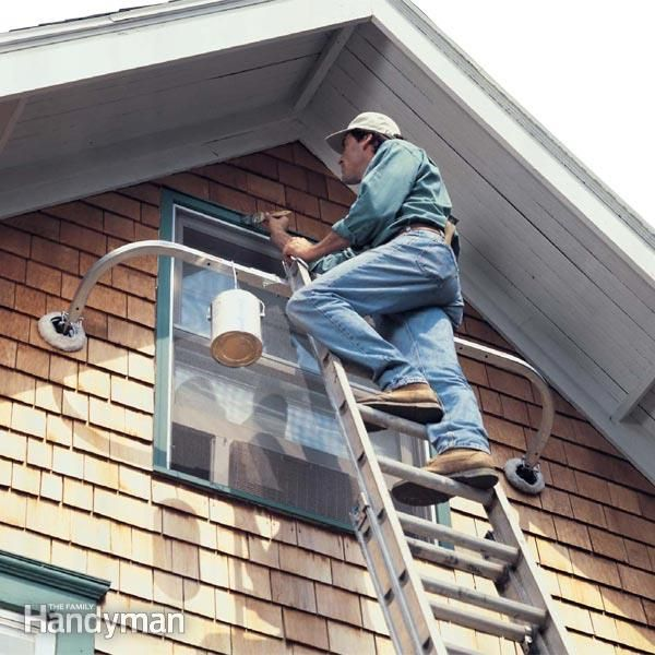 ladder stabilizers mount on extension ladders, and are essential for working around windows, eaves and high walls when painting, siding or doing any exterior repair work.