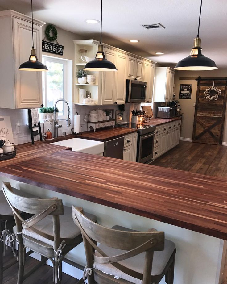 "507 Likes, 22 Comments - @farmhouse_firewife on Instagram: ""Hubby built me the kitchen of my dreams! #blessed #StrongFireman #FarmhouseKitchen #FarmhouseDecor…"""