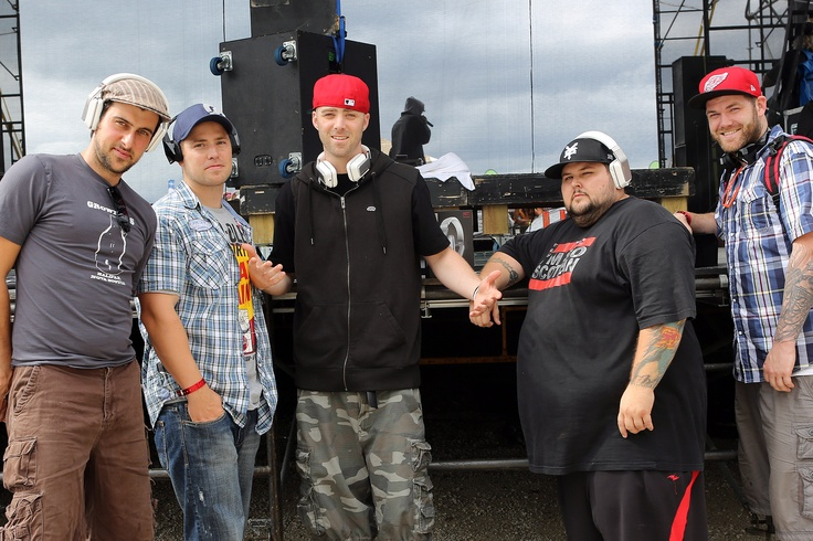 Classified with his crew at Wakestock rocking Monster headphones