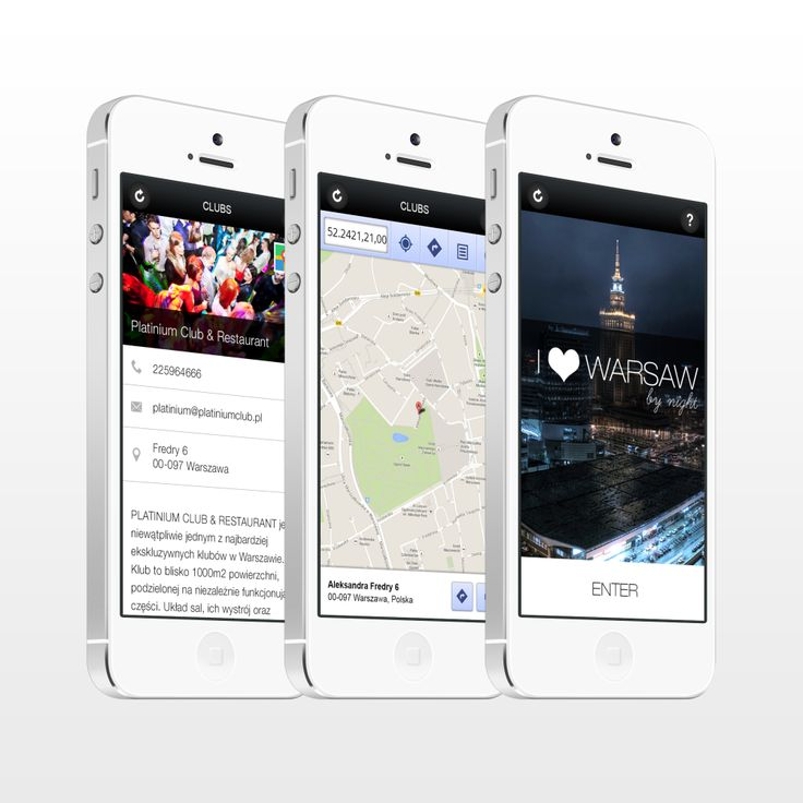 Idea of the app which shows you the best places for having fun in Warsaw by night.