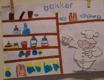 De bakkerswinkel. Een plak/meet en teken-opdracht
