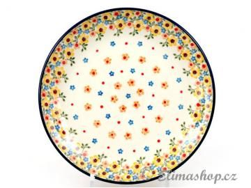 Spring design plate . This Traditional Handmade Polish Pottery PLATE is from ELIMAshop.cz . (25 cm ) . It was handpainted in Boleslawiec  . Bunzlau . ceramics . stoneware . ( talíř mělký 25 cm - ELIMAshop.cz )