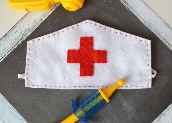 Felt Nurse's Cap for Children, Nurse Costume, Doctor, Vet, Pretend Play, Halloween, Photo Prop, Dress Up