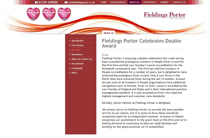 Fieldings Porter celebrates IIP Silver and Lexcel accreditations