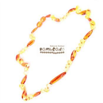 Looking for something unique? This gorgeous premium amber necklace comes in a combination of bean shaped and rounded beads in a pattern of lemon and cognac colours. Amber beads are finished in a polish compared to the standard bud range. The amber necklace is approx 37 cm in length. Bambeado amber is genuine baltic amber. Bambeado's are to be worn and not chewed. Each bead is individually knotted to help with safety.    The Bambeado comes together with a plastic screw clasp.
