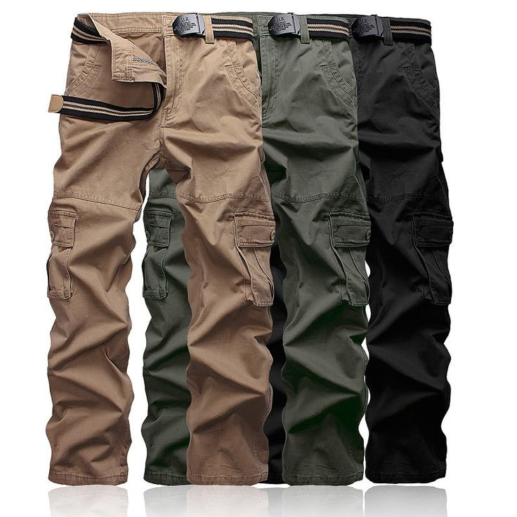 Men's camouflage pants slim fit long Full Length Military work pants men Cargo pants Khaki Army Multi-Pockets Trousers casual