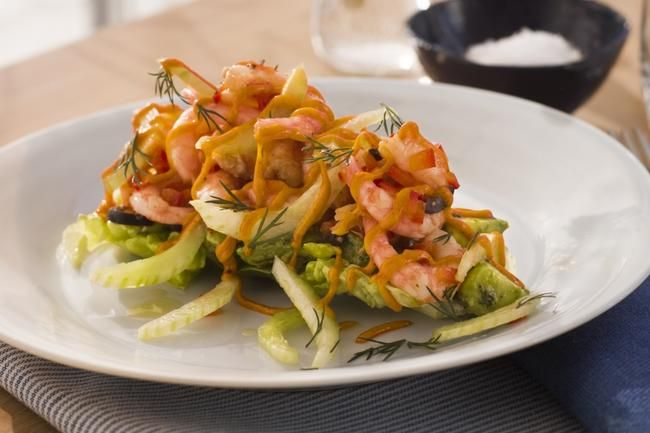 Oliven- og paprikamarinerte havreker med avokadosalat
