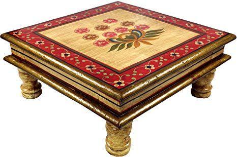 Guru-Shop Kleiner bemalter Tisch, Minitisch, Blumenbank – gelb / rote Blumen, 16 …