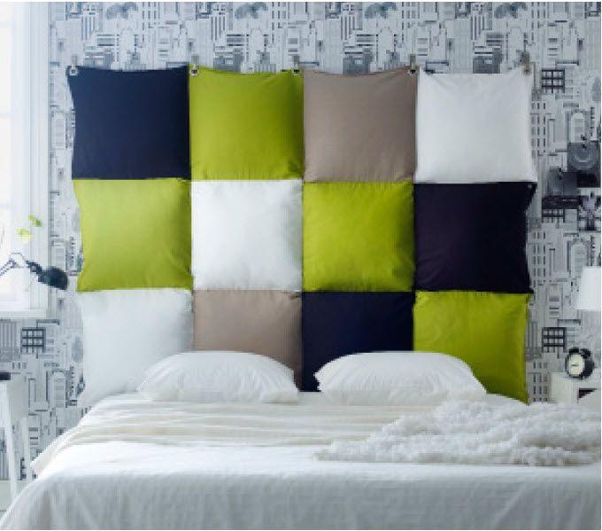 Pillow headboard boy 39 s bedrooms pinterest pillow for Bed pillow ideas
