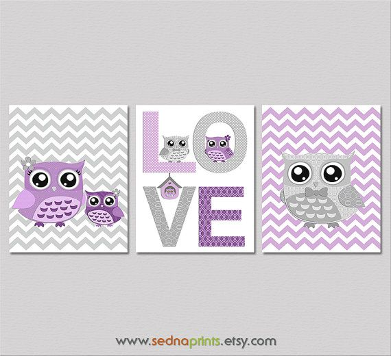 Purple and grey Nursery Art Print Set  8x10  Baby by SednaPrints, $37.50