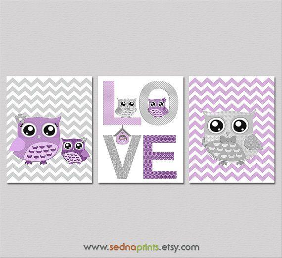 Purple and grey Nursery Art Print Set  8x10  Baby by SednaPrints