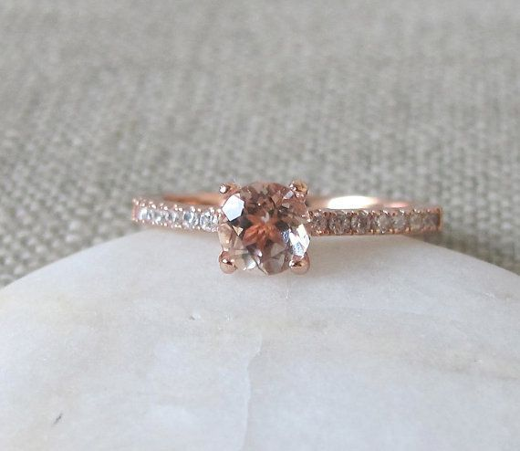 Solitaire Morganite Ring Promise Ring for Her Rose Gold by Belesas