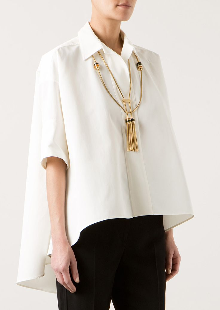 Lanvin Tops :: Lanvin oversize white canvas blouse | Montaigne Market