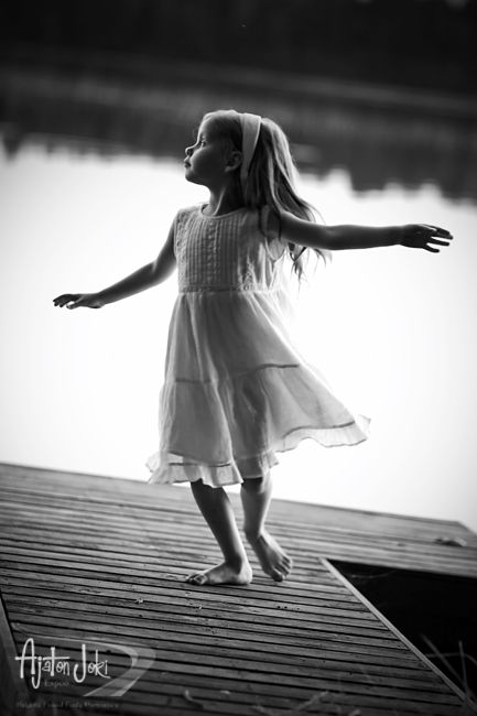 Portrait photography // black and white photography, photo, pic, image, free, little, child, girl, children, b&w, lake, boardwalk, cute, freedom, life, innocent, snapshot