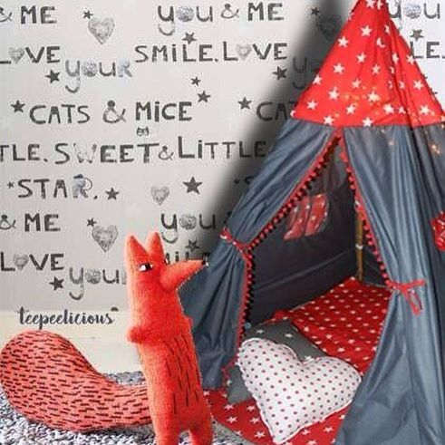 Brand new design and #colors ✨graphite stars✨ #teepee in #red ❤️by #teepeelicious #once_first_always_first #pation #pompom #pillows #wallcovering #handmade #kidsroominspo #nurserydecor #kidsroominterior #kidsroomdecor #inspirational #eventplanning #giftideas #eventideas #partyinspiration #glamping