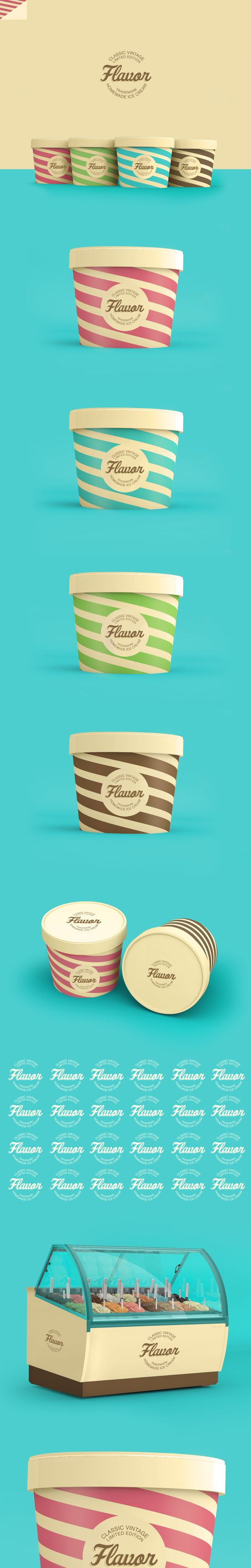 fun packaging design | color scheme | simple | branding | appealing  //  Flavor Ice Cream #Packaging by Renan Vizzotto, via Behance PD                                                                                                                                                     Más