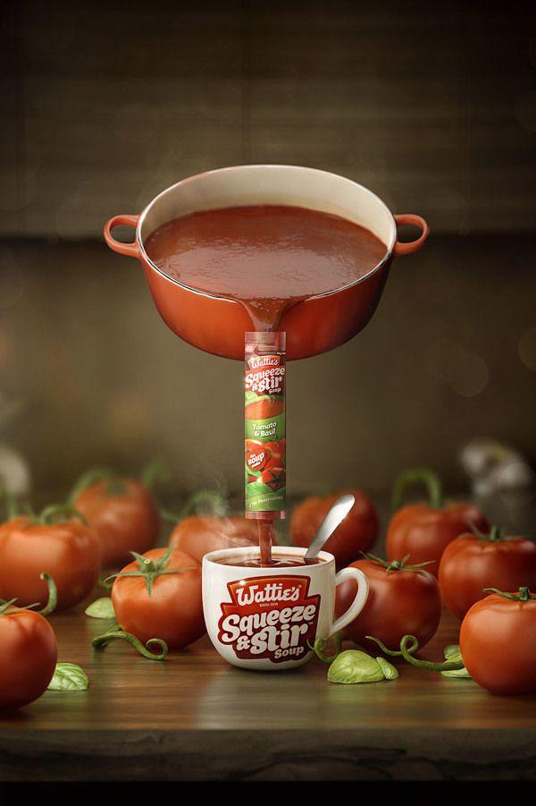 Wattie s squeeze stir by lightfarm studios via behance advertising digital art print for Creation cuisine