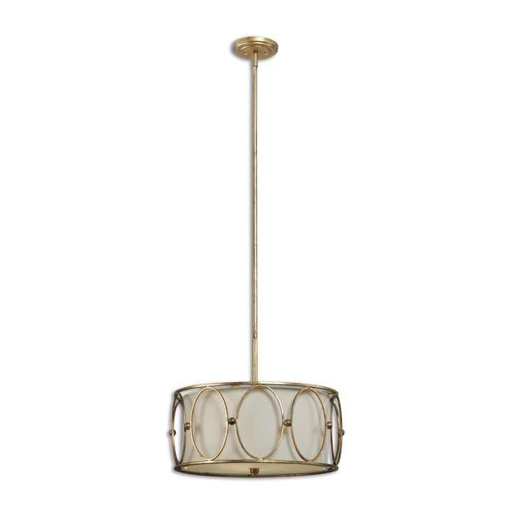 Ovala 3 Light Gold Drum Pendant Lighting Fixture by Uttermost