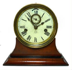 Rarest Seth Thomas Antique Ships Clock Dated 1878 Double Wind Movement 6 inch dial, Brass Case Runs strong
