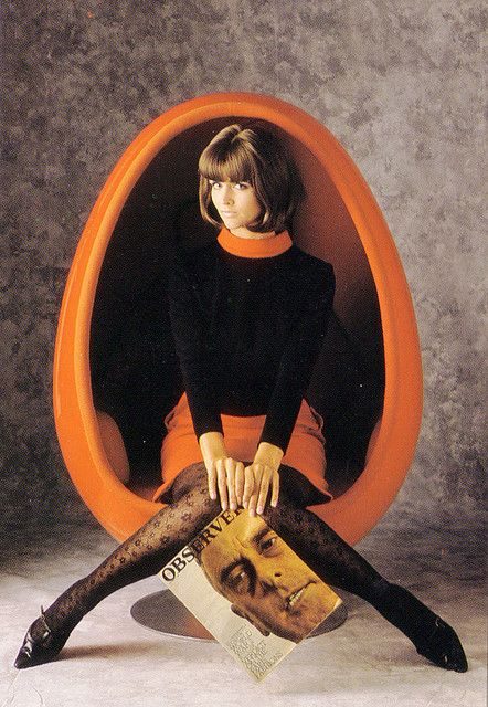 Swinging #60s Style #Retro fashion dress black and orange space age mod egg chair stockings tights shoes model magazine color photo print ad
