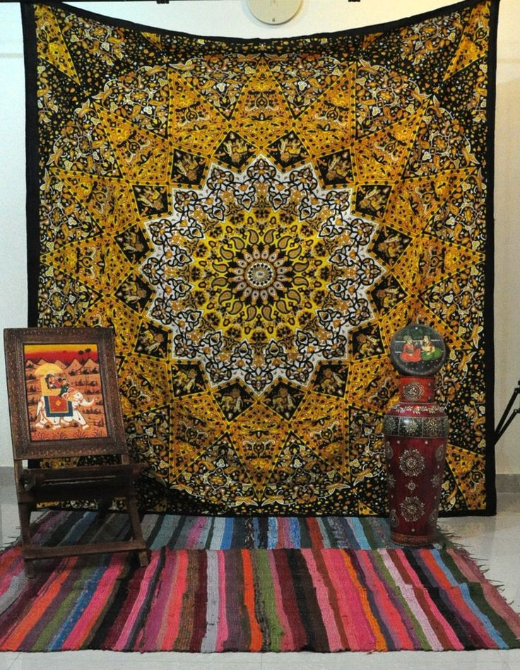 Queen Yellow star tapestry beautiful Elephant tapestry Psychedelic Tapestries hippie tapestries Meditation Wall tapestry Yoga Wall art Dorm